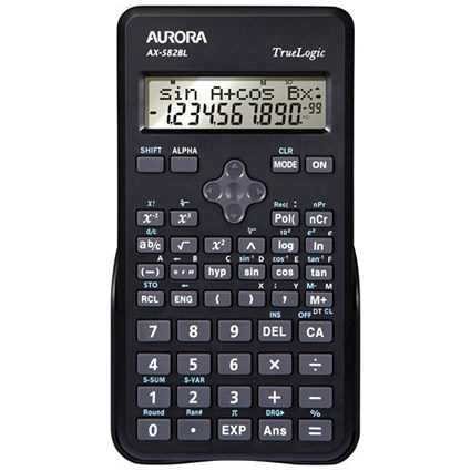 Aurora Scientific Calculator 2 Line Display 240 Functions 83x18x154mm Black Ref AX-582BL