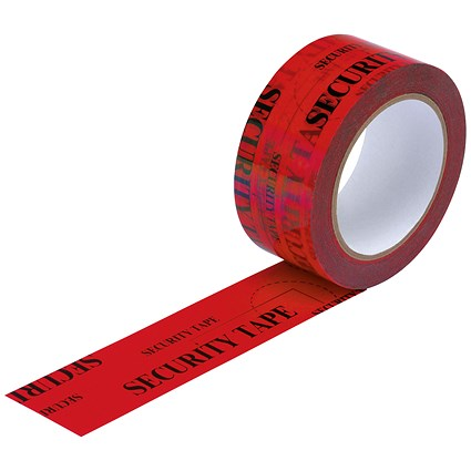 Security Tape, Tamper Evident, 48mmx50m, Red