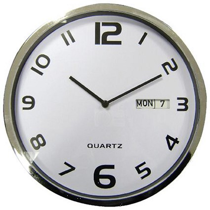 5 Star Facilities Wall Clock with Dates Diameter 300mm with White Face & Grey Case