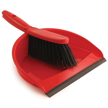 Dustpan & Brush Set, Soft Bristle, Red