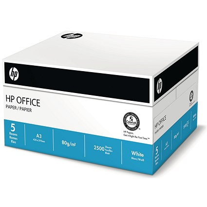 HP A3 Multifunctional Printing Paper / White / 80gsm / Box (5 x 500 Sheets)