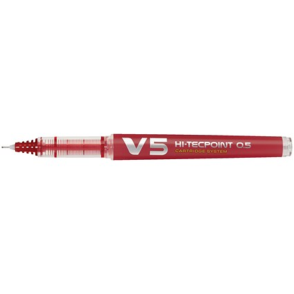 Pilot V5 Rollerball Pen / Extra Fine Needlepoint / 0.5mm Tip / 0.3mm Line / Red / Pack of 10