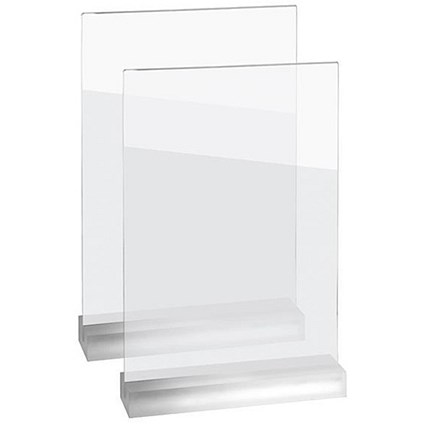 Sigel Frozenacrylic Table Top Display Frame, Straight, A4, Pack of 2