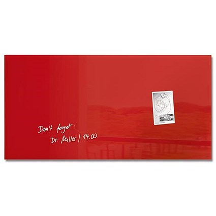 Sigel Artverum Tempered Glass Board, Magnetic, W910xH460mm, Red