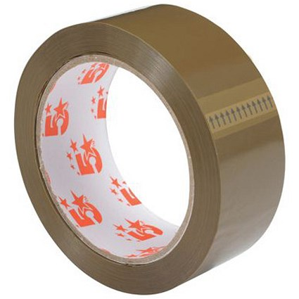 5 Star Packaging Tape / 38mmx66m / Buff / Pack of 12
