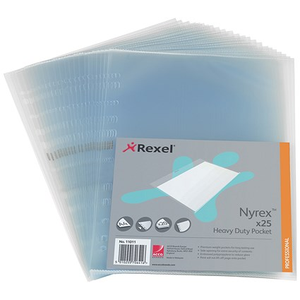 Rexel A4 Nyrex Heavy-duty Pockets / Side-opening / Pack of 25