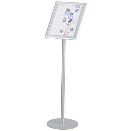 Twinco Floorstanding Literature Display / Snapframe / A4 / Silver
