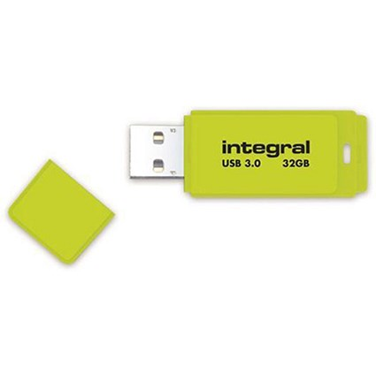 Integral Neon USB 3.0 Flash Drive / 32GB / Yellow