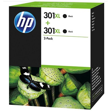 HP 301XL Black High Yield Ink Cartridges (Twin Pack)