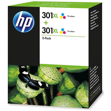 HP 301XL High Yield Tri-Colour Ink Cartridge (Twin Pack)