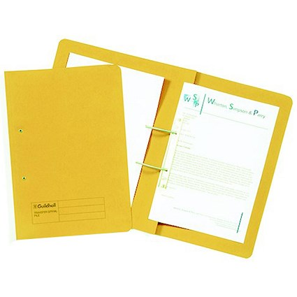 Guildhall Transfer Files / 315gsm / Foolscap / Yellow / Pack of 50