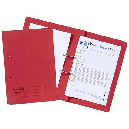 Guildhall Pocket Transfer Files, 420gsm, Foolscap, Red, Pack of 25