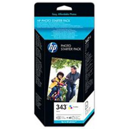 HP 343 Photo Pack - Includes 1 Tri-Colour Cartridge and 60 Sheets of 10x15cm Paper