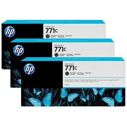 HP 771C DesignJet Matte Black Ink Cartridge (3 Pack)