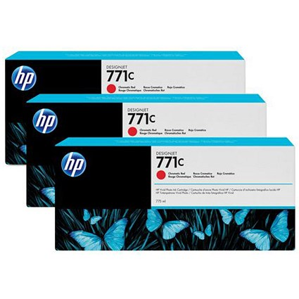 HP 771C DesignJet Red Ink Cartridge (3 Pack)