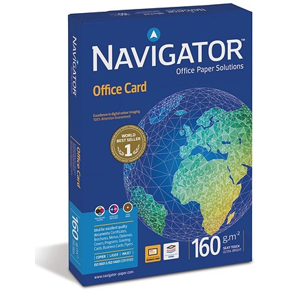 Navigator A4 Multifunctional Premium High Quality Office Card, Bright White, 160gsm, 250 Sheets