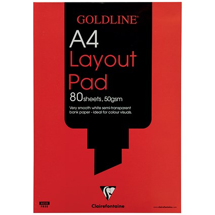 Goldline Layout Pad, A4, 50gsm, 80 Sheets, Pack of 5