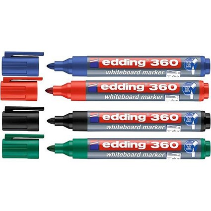 Edding 360/4S Whiteboard Marker / Bullet Tip / Assorted Colours / Pack of 4