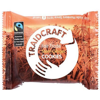 Traidcraft Fairtrade Stem Ginger Cookies, 2 Biscuits per Minipack, Pack of 16