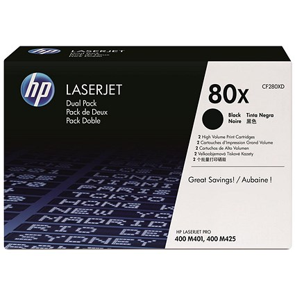 HP 80X Black High Yield Laser Toner Cartridges (Twin Pack)