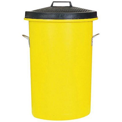 Heavy Duty Dustbin / 85 Litre / Yellow