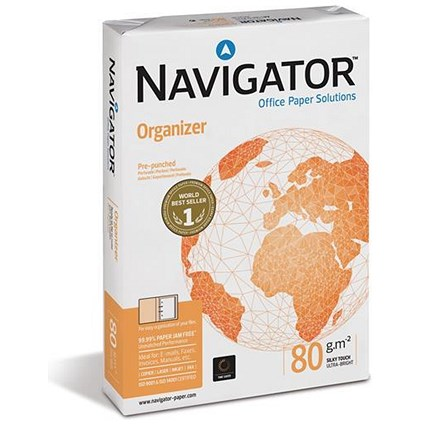 Navigator Organizer A4 Paper / 80gsm / Punched 2 Holes / Ream (500 Sheets)