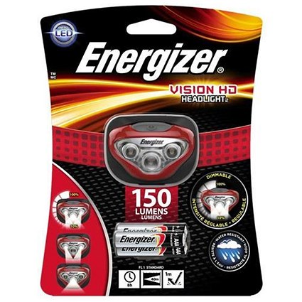 Energizer Vision HD Headlight / Dimmable / LED / 150 Lumens / 3 Light Modes
