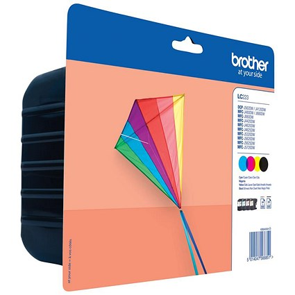 Brother LC223 Inkjet Cartridge Value Pack - Black, Cyan, Magenta and Yellow (4 Cartridges)