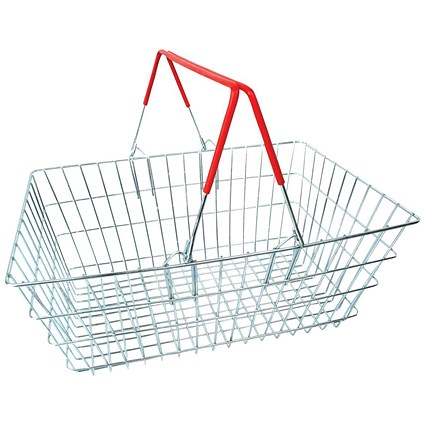Red Wire Baskets, 21L Capacity, Mobile Storage Plinth, Pack of 20