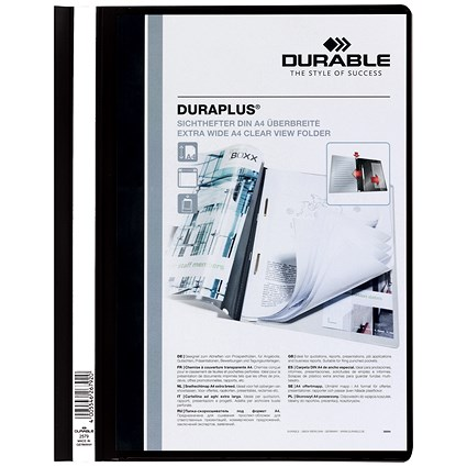 Durable A4 Duraplus Quotation Folders, Black, Pack of 25