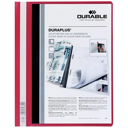 Durable A4 Duraplus Quotation Folders, Red, Pack of 25
