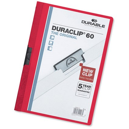 Durable Duraclip Folders / 6mm Spine / Red / Pack of 25