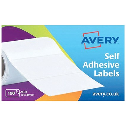 Avery Address Labels Roll / 102x49mm / Ref AL03 / 190 Labels