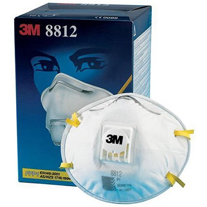 3M Valved Respirator / FFP1 Classification / White with Yellow Straps / Pack of 10