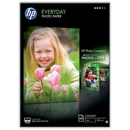 HP A4 Everyday Glossy Photo Paper / White / 200gsm / Pack of 100