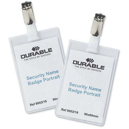 Durable Name Badges Security with Rotating Clip / 60x90mm / Pack of 25