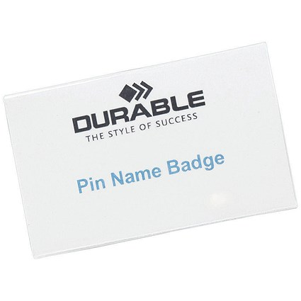 Durable Name Badges / Pin / 75x40mm / Pack of 100