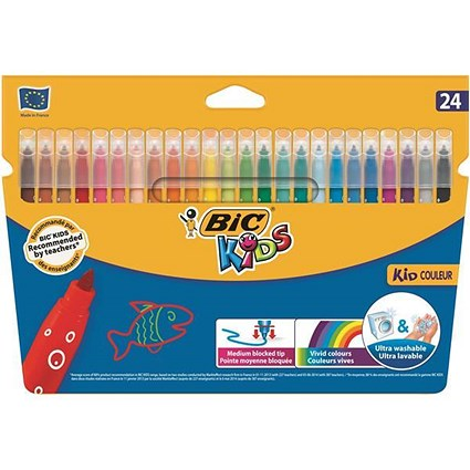 Bic Kids Couleur Felt Tip Pens / Ultra-washable / Water-based / Medium / Assorted Colours / Pack of 24