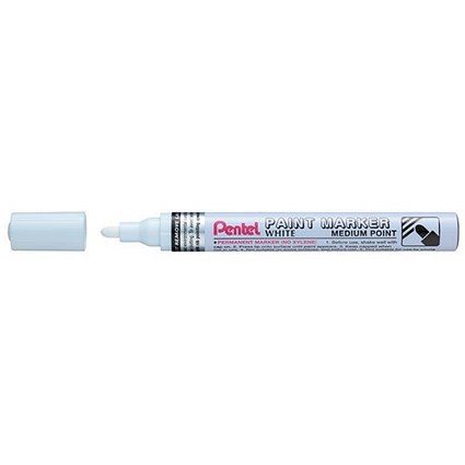 Pentel Permanent Paint Marker Bullet Tip Medium Line 3.0mm White Ink [Pack 12]