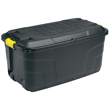 Strata Heavy Duty Strata Storage Trunk with Lid & Wheels, 75 Litre, Black