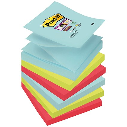 Post-it Super Sticky Z-Notes / 76x76mm / Miami / Pack of 6 x 90 Notes