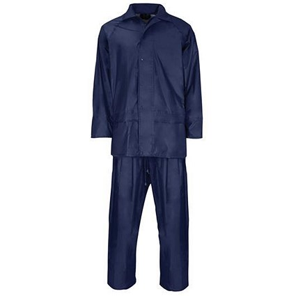Rainsuit Polyester/PVC with Elasticated Waisted Trousers / Navy / XXL