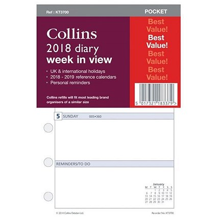Collins 2018 Slim Diary Refill - Week to View
