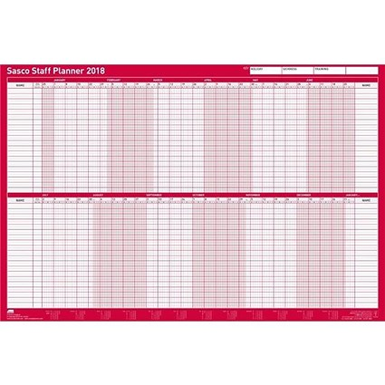 Sasco 2018 Staff Planner / Mounted / 915x610mm