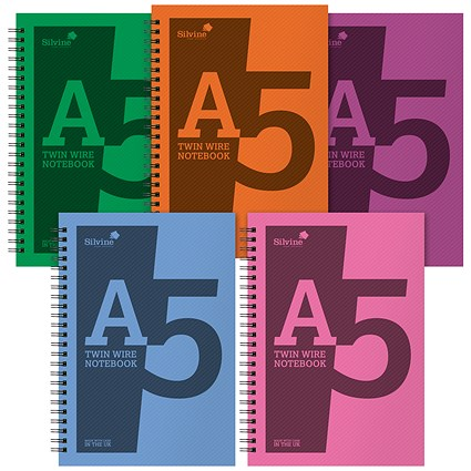 Silvine Notebook, A5, Wirebound, 160 Pages, Assorted, Pack of 5