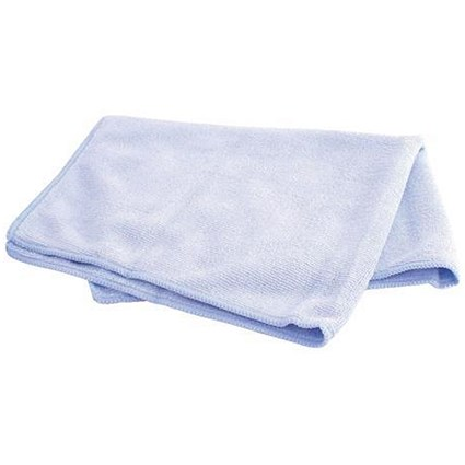 Maxima Microfibre Glass Cloths / Anti-bacterial / Blue / Pack of 10