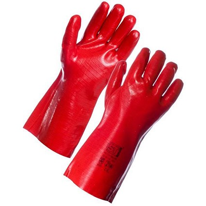 Supertouch Industrial PVC Gauntlets / Abrasion-resistant / Red
