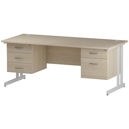 Trexus 1800mm Rectangular Desk, White Legs, 2 Pedestals, Maple