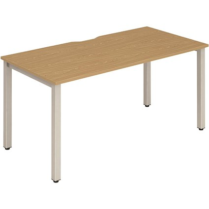 Trexus 1 Person Bench Desk, 1400mm (800mm Deep), Silver Frame, Oak