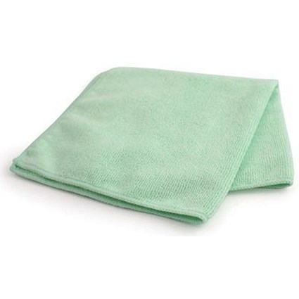 Maxima Microfibre Glass Cloths / Anti-bacterial / Green / Pack of 10